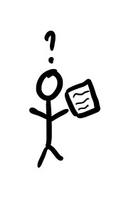 Stick figure holding a doc and confused by it